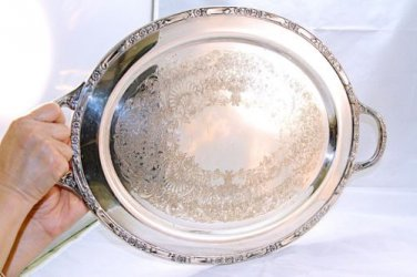ANTIQUE ROGER'S & BRO SILVERPLATED WAITER TRAY # 2380