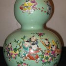 CHINESE PORCELAIN CELADON GROUND & FAMILLE ROSE DOUBLE GOURD VASE, 19TH C.