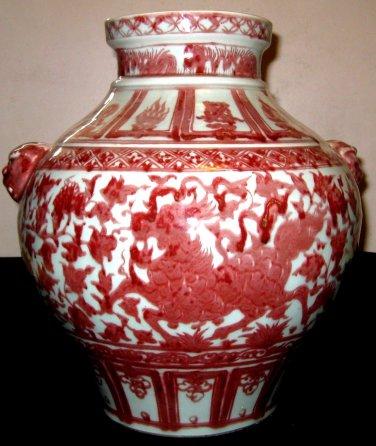 CHINESE HUGE BEAUTIFUL RARE UNDERGLAZE RED PORCELAIN KILIN POT- 19TH CENTURY