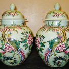 Chinese Republican Artist Bi Botao W/On Porcelain Celadon Phoenix&Flower Jar,