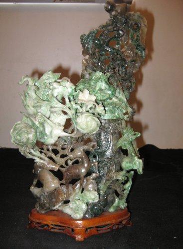 Chinese Natural Jadeite Carved, Dragon, Phoenix, Dears, Money, Peachs Statue.