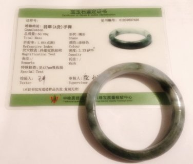 NATURAL 100% JADEITE BANGLE JADE WITH CERTIFICATE GRADE A - 59MM