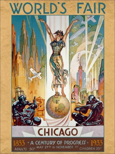 "1933 Chicago World's Fair #1 - ""Columbia"" - 18x24 Vintage Art Deco Poster"