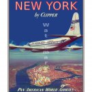 Pan Am New York Vintage Airline Travel Poster [6 sizes, matte+glossy available]