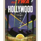 TWA Hollywood - Vintage Airline Travel Poster [6 sizes, matte+glossy avail]
