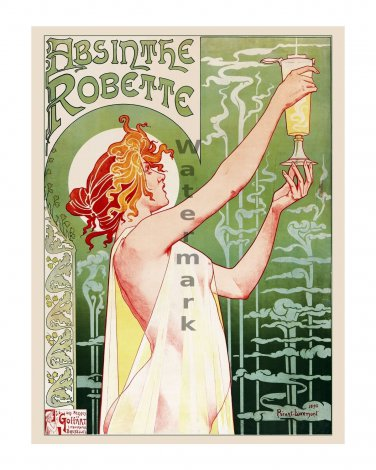 Absinthe Robette Vintage Art Nouveau Poster Print [6 sizes, matte+glossy avail]
