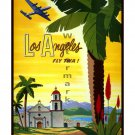 TWA Los Angeles Vintage Airline Travel Poster [6 sizes, matte+glossy avail]