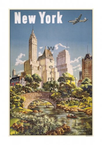 New York #2 - Vintage Airline Travel Poster [4 sizes, matte+glossy avail]