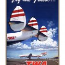 TWA Fly the Finest - Vintage Airline Travel Poster [6 sizes, matte+glossy avail]