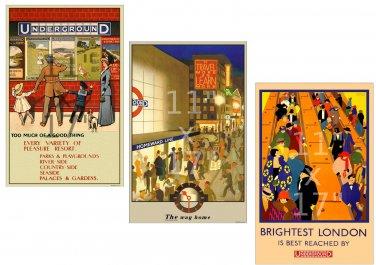Set of 3 11x17 inch Vintage London Underground Posters (Set #2)
