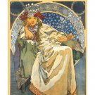 A. Mucha Princezna Hyacinta Art Nouveau Poster [6 sizes, matte+glossy avail]