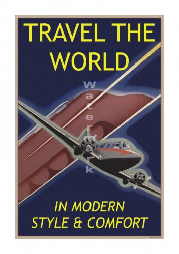 Travel the World #1 - Vintage Air Travel Poster [6 sizes, matte+glossy avail]