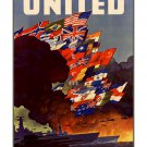 UN Fight for Freedom #1 WWII US Propaganda Poster [6 sizes, matte+glossy avail]