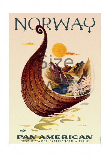 Pan Am Norway - 594x841mm (Size A1) Vintage Glossy Airline Travel Poster Print