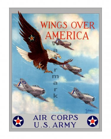 Wings over America US WWII Army Air Corp Poster [4 sizes, matte+glossy avail]