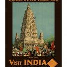 Visit India #3 - Vintage Travel Poster [4 sizes, matte+glossy avail]