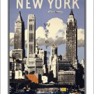 "New York #5 - Very ""Vintage"" Airline Travel Poster [6 sizes, matte+glossy avail]"