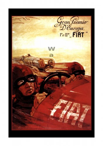 Fiat Gran Premio - Vintage Auto Racing Poster [6 sizes, matte+glossy avail]