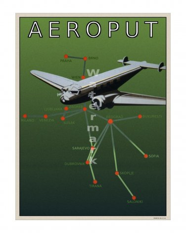 Aeroput #1 - Vintage Airline Travel Poster [4 sizes, matte+glossy avail]