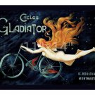 Cycles Gladiator - 11x14 Vintage 19th Century Bicycle Advertisement Poster