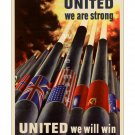 United We Are Strong WW II US Propaganda Poster [4 sizes, matte+glossy avail]