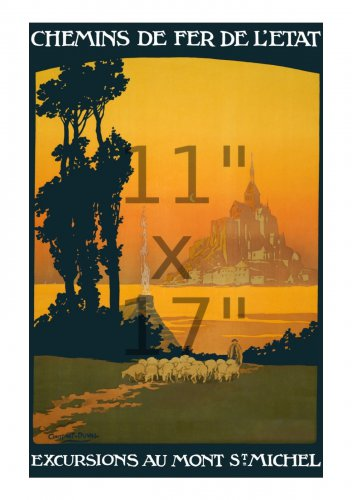 Mont St. Michel - 11x17 inch Vintage French State Railways Travel Poster