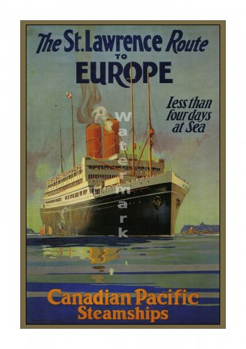 St Lawrence Route Vintage Sea Travel Poster [6 sizes, matte+glossy avail]