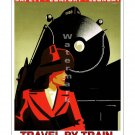 Travel by Train #4 Vintage Railroad Travel Poster [4 sizes, matte+glossy avail]