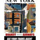 Braniff New York - Vintage Airline Travel Poster [4 sizes, matte+glossy avail]