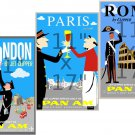 London - Paris - Rome - 11x17 inch 3pc Vintage Travel Poster Set