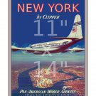 Pan Am - New York - 11x14 inch Vintage Airline Travel Poster