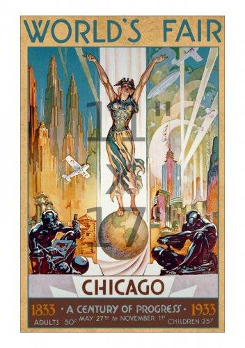 1933 Chicago Worlds Fair #1 - 11x17 Vintage Art Deco Poster