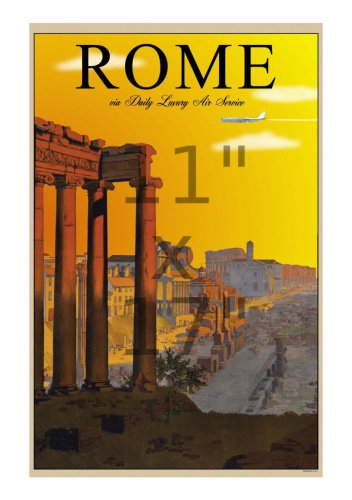 Rome via Daily Luxury Air Service - 11x17 inch Vintage Air Travel Poster