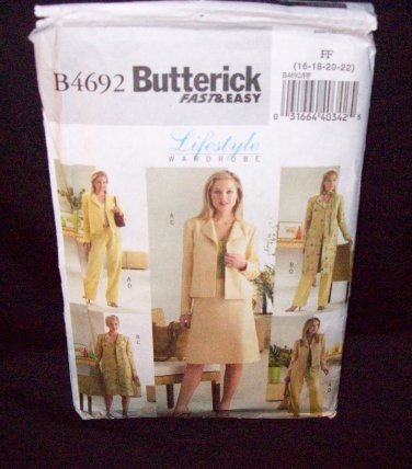 Butterick Pattern #4692 jacket, skirt, and pants, misses petite size 16, 18, 20, 22