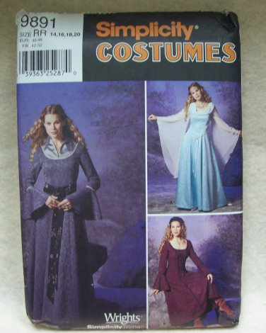 SIMPLICITY  Costume Pattern #9891 misses dress and drape, size 14 - 20
