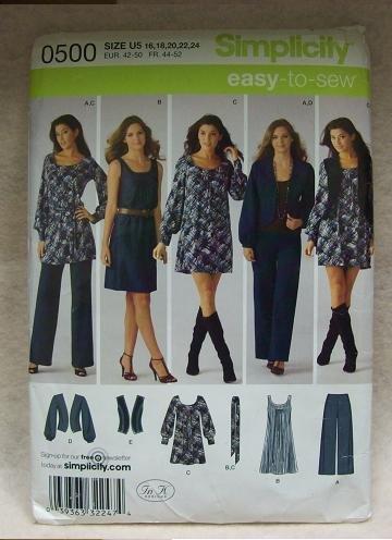 SIMPLICITY Pattern #0500 Pants, dress or mini dress with belt , jacket or vest size 16 - 24