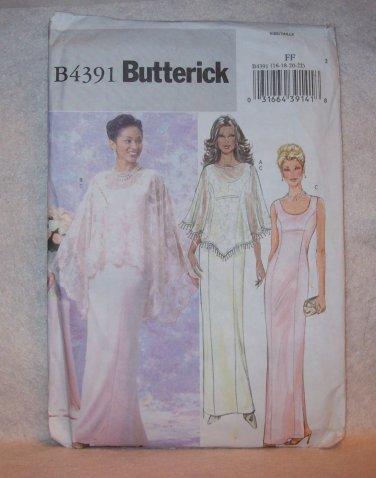 **WEDING DRESS Butterick Pattern #4391, misses/misses petite capelet and dress size 16, 18, 20, 22
