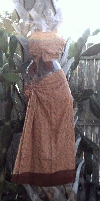 Sarong 2 - Piece Brown Tiny Flowers W/ Border ~ On Sale