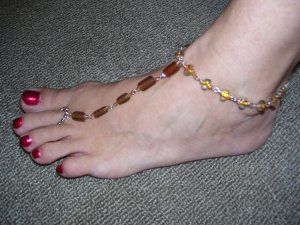 Beach Feet - Amber Crystals - TBM-FT-005 - Per Pair