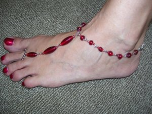 Beach Feet - Red Crystals  - Per Pair
