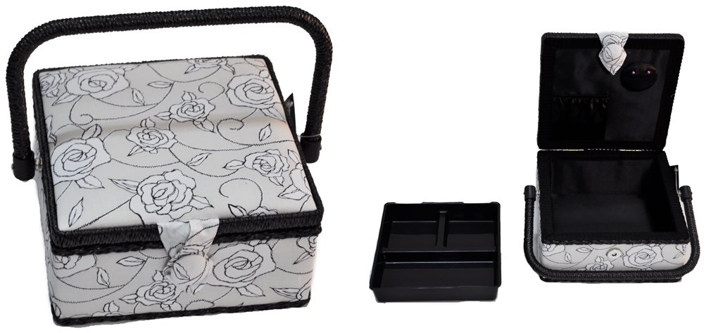 Suzy's Hobby Baskets Small Square Black and White Floral SB012