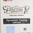 STABALIZE IT EMBROIDERY STABALIZER.  PERMANENT TOPPING LIGHT BLUE ADS-PT08