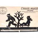 Classic Motifs Boy & Sled  12 Inch Charcoal Split Bottom Craft Holder