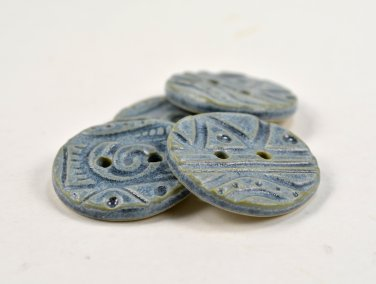 Blue Ceramic Buttons Handmade Pottery Buttons by Seagrapes Studio