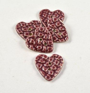 Ceramic Red Heart Buttons Handmade Textured Pottery Buttons
