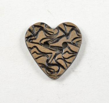 Ceramic Heart Buttons Handmade Textured Pottery Sewing & Craft Buttons