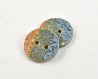 "Pair of Ceramic Buttons 1 1/8"" Handmade Pottery Buttons by Seagrapes Studio"