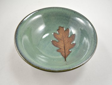 Pottery Leaf Bowl with Oak Leaf Imprint Wheel Thrown Stoneware Pottery by Seagrapes Studio