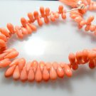 Fulll Strands Pink Coral Beads Smooth Briolette Tear Drops Size - 5x10MM