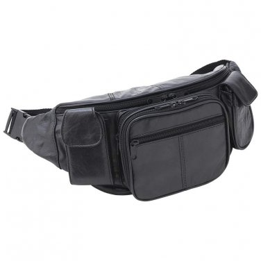 Black Leather Waist Bag /Embassy Large Solid Leather Waist Bag - LUWAISTL - FREE SHIPPING!